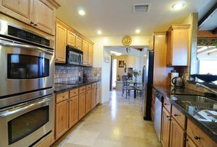 Craftsman Kitchen with built-in microwave, can lights, Paint, Built In Refrigerator, double wall oven, Stone Tile, dishwasher