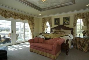 Traditional Master Bedroom with Carpet, French doors, flush light, Box ceiling