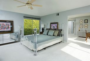 Contemporary Guest Bedroom with Carpet, RIO Mirrored Dressing Table 6 Drawer Dresser Chest - Mirror Furniture, Ceiling fan