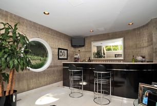 Contemporary Bar with Standard height, specialty window, Concrete tile , interior wallpaper, can lights