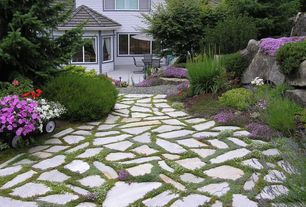 Traditional Landscape/Yard with picture window, Pathway, exterior stone floors, exterior tile floors, Casement