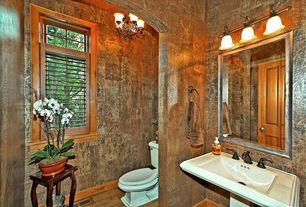 Eclectic Powder Room with Powder room, interior wallpaper, Pedestal sink, Pendant light, Hardwood floors