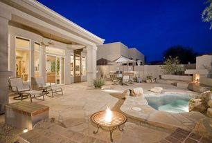 Contemporary Patio with Fire pit, French doors, Fence, outdoor pizza oven, Transom window, Outdoor kitchen