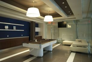 Contemporary Game Room with Concrete floors, flush light, Exposed beam