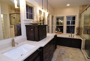 Contemporary Master Bathroom with Flat panel cabinets, Pendant light, Pental seashell quartz, Undermount sink, Double sink