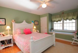 Country Kids Bedroom with Window seat, Carpet, Laminate floors, Ceiling fan