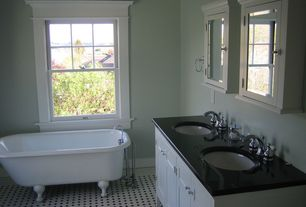 Traditional Full Bathroom with Double sink, penny tile floors, Clawfoot, Undermount sink, Soapstone counters, Powder room