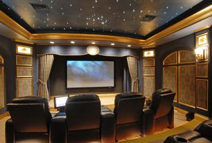 Traditional Home Theater with Paint, Wall sconce, Standard height, Carpet, Crown molding, Sound absorption panels, can lights