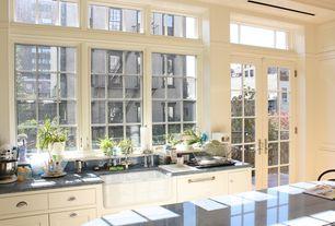 Traditional Kitchen with Natural light, French doors, Rejuvenation - massey drawer pull, Rejuvenation massey bin pull