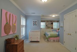 Country Kids Bedroom with flush light, Carpet, Crown molding, Built-in bookshelf