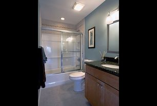 Contemporary Full Bathroom with European Cabinets, Flat panel cabinets, Undermount sink, Simple granite counters, flush light