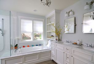 Traditional Master Bathroom with Double sink, Framed Partial Panel, Undermount sink, can lights, Complex marble counters