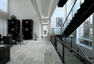 "Modern Staircase with Wall panel, Hidden light, Samson Genesis Loft 12"" x 24"" Glazed porcelain Matte Field Tile in Mineral"