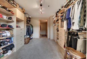 Contemporary Closet with Carpet, Built-in bookshelf, flush light, Standard height