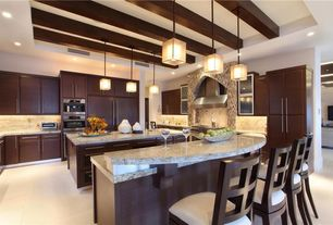 Contemporary Kitchen with High ceiling, Exposed beam, wall oven, U-shaped, Raised panel, Kitchen island, Flush, Breakfast bar