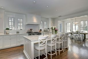 Transitional Kitchen with One-wall, Custom hood, High ceiling, European Cabinets, French doors, Pendant light, Flush