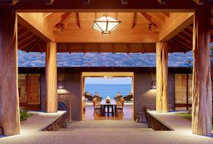 Tropical Hallway with slate tile floors, Exposed beam, Columns, International Caravan Royal Tahiti Wood Park Bench
