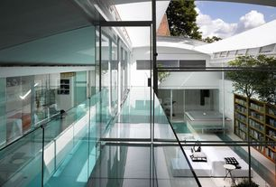Modern Patio with French doors, Indoor pool, Pathway, Deck Railing, picture window