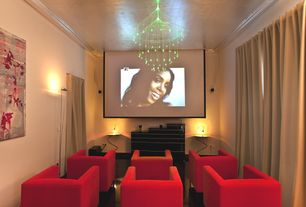 Modern Home Theater with Crown molding, Carpet, Upholstery, Led chandelier, bedroom reading light, Paint, Projector