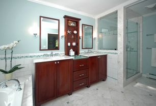 Modern Master Bathroom with Wall sconce, Undermount sink, Complex marble counters, Crown molding, Double sink