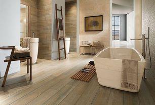 Asian Master Bathroom with flush light, Paint, Rustic ladder, Standard height, Wood shower mat, Hardwood floors, Freestanding