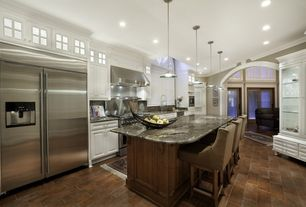 Traditional Kitchen with One-wall, Breakfast bar, Crown molding, Raised panel, High ceiling, Soapstone counters, Soapstone