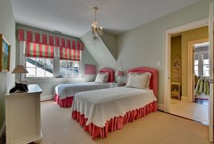Traditional Guest Bedroom with Carpet, Chandelier