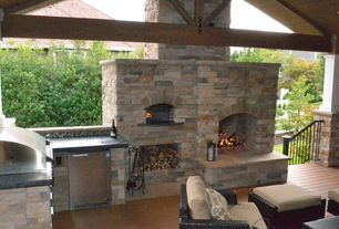 Traditional Patio with Blaze 4.1 cu. ft. outdoor stainless steel compact refrigerator, Deck Railing, outdoor pizza oven