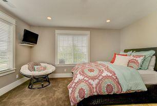 Traditional Master Bedroom with Platform bed, Venetian blinds, Carpet