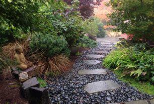 Asian Landscape/Yard with Designer stone meditating buddha garden statue - large, Rain forest grade a black polished pebbles