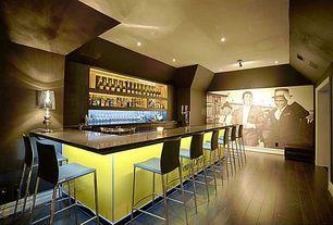 Contemporary Bar with Hardwood floors, flush light, Liam Table Lamp, Maverick Ottoman, interior wallpaper
