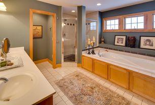 Craftsman Master Bathroom with Double sink, Undermount sink, Master bathroom, Corian counters