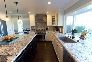 Traditional Kitchen with Fieldstone Gloss 3 in. x 6 in. Glass Wall Tile (8 pieces/1 sq. ft./1 pack), Simple granite counters