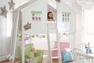 Cottage Playroom with Green with white piping mini dot anywhere chair, Wicker starfish decor, Chandelier, Tree house twin bed