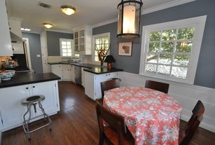 Country Kitchen with Breakfast bar, Breakfast nook, Hardwood floors, Glass panel, Inset cabinets, U-shaped, Pendant light