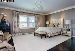 Traditional Master Bedroom with Crown molding, Ceiling fan, Hardwood floors
