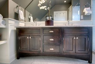 Traditional Master Bathroom with Mahogany double vanity cabinet, MS International - Bianco Venatino Marble Tile, Wainscotting