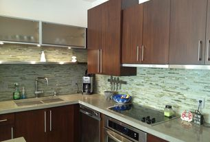 Modern Kitchen with European Cabinets, Brooks Custom Engineered Concrete Countertops, L-shaped, Corian counters, Ceramic Tile