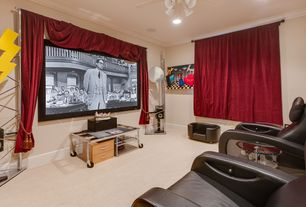 Traditional Home Theater with can lights, Standard height, Ceiling fan, Crown molding, Carpet