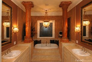 Mediterranean Master Bathroom with Crown molding, Foster mantels grand acanthus wood column, Columns, Stone Tile, Wall sconce