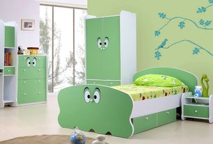 Contemporary Kids Bedroom with Mural, Built-in bookshelf, Concrete floors