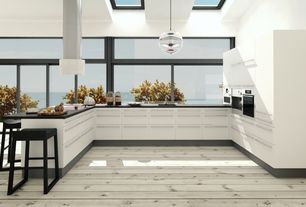 Contemporary Kitchen with Soapstone counters, Skylight, European Cabinets, double wall oven, U-shaped, French doors, Flush
