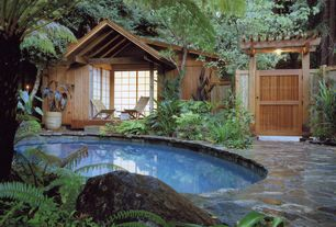 Tropical Swimming Pool with Arbor, exterior stone floors, Trellis, Fence