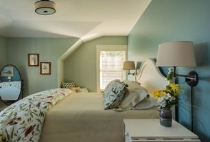 Cottage Guest Bedroom with Robert abbey swing arm wall lamp, Pottery barn spring sparrow duvet cover, flush light, Paint 1