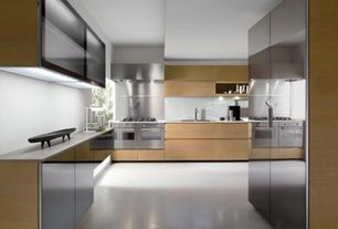 Contemporary Kitchen with Simple granite counters, Undermount sink, European Cabinets, Standard height, Galley, Flush