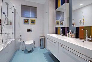 Contemporary Kids Bathroom with Undermount sink, Hansgrohe Metris S Single Hole Bathroom Faucet, Duravit starck 2 toilet