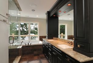 Traditional Master Bathroom with can lights, Shower, Flush, Bathtub, full backsplash, Undermount sink, Master bathroom