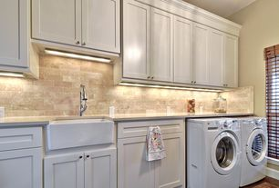 Traditional Laundry Room with Kenmore 3.9 cu. ft. front-load washer & 7.0 cu. ft. dryer bundle, Hardwood floors