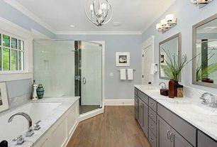 Traditional Master Bathroom with Master bathroom, Flush, Rain shower, Undermount sink, Flat panel cabinets, Shower, Casement