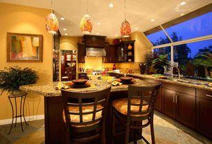 Modern Kitchen with Kitchen island, ELK Lighting - Avalon LED Mini Pendant, Glass panel, U-shaped, Large Ceramic Tile